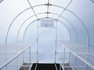 Solexx greenhouse kit shelving: inside the Oasis kit