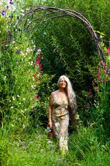 Sweet pea trellis; abundant garden