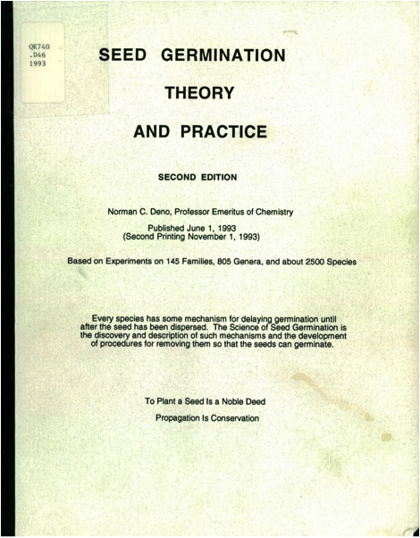 Seed Germination Theory and Practice by Norman C. Deno