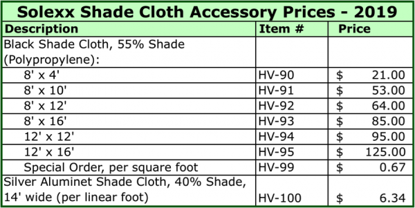 Solexx Shade Cloth Accessory Price List