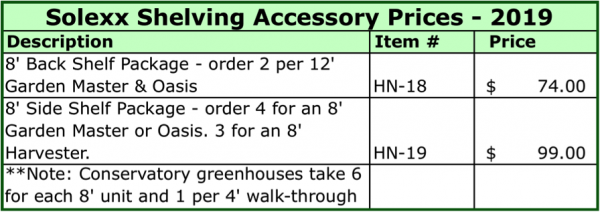 Solexx Shelving Accessory Price List